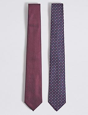 2 Pack Assorted Ties, BURGUNDY MIX, catlanding