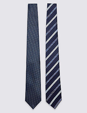 2 Pack Striped Tie, NAVY MIX, catlanding