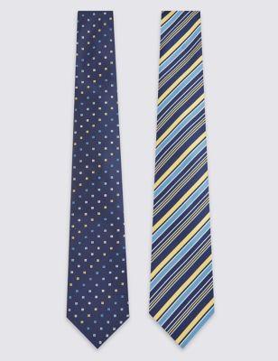 Набор из 2 галстуков в единой цветовой гамме: в полоску и мелкий квадрат