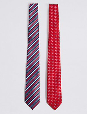 2 Pack Spotted & Striped Tie, RED MIX, catlanding
