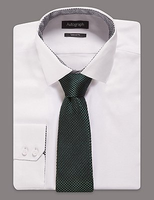 Pure Silk Premium Waffle Evening Tie, GREEN, catlanding