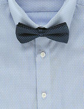 Pure Silk Waffle Textured Bow Tie, NAVY, catlanding