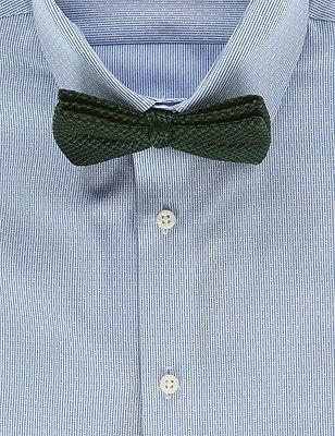 Pure Silk Waffle Textured Bow Tie, GREEN, catlanding