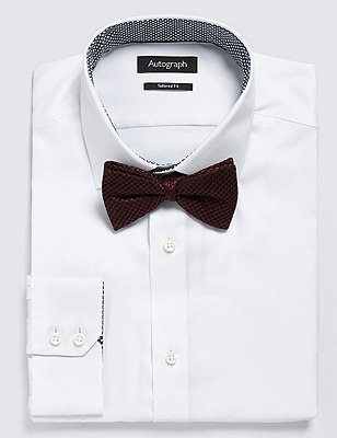Pure Silk Waffle Textured Bow Tie, BURGUNDY, catlanding