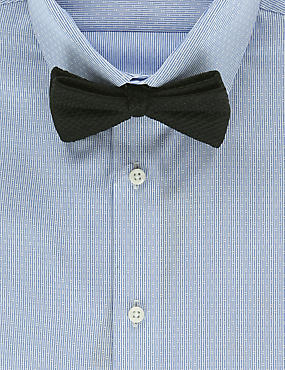 Pure Silk Waffle Textured Bow Tie, BLACK, catlanding