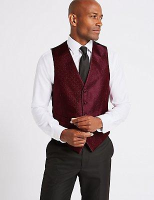 5 Button Textured Waistcoat, RED, catlanding