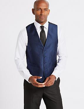 5 Button Textured Waistcoat, NAVY, catlanding