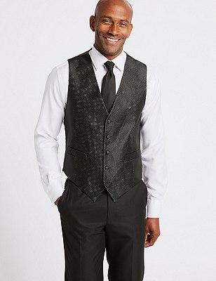 5 Button Textured Waistcoat, GREY, catlanding