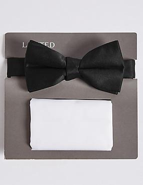 Pocket Bow Tie, BLACK/WHITE, catlanding