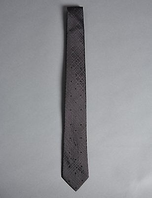 Pure Silk Tie with SWAROVSKI® ELEMENTS, GREY, catlanding