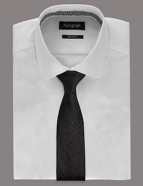 Pure Silk Tie with SWAROVSKI® ELEMENTS, BLACK, catlanding