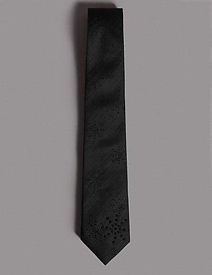 Textured Tie MADE WITH SWAROVSKI® ELEMENTS, BLACK, catlanding