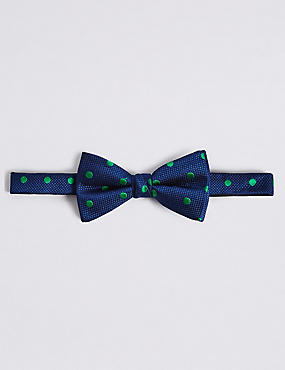 Pure Silk Spotted Bow Tie, GREEN MIX, catlanding
