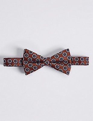 Pure Silk Textured Bow Tie, ORANGE, catlanding