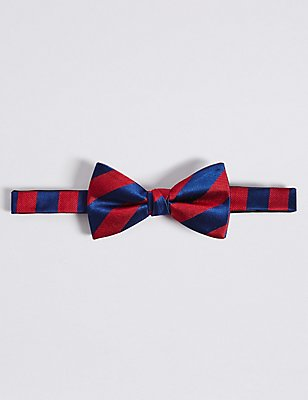 Pure Silk Striped Bow Tie, RED MIX, catlanding