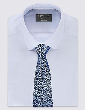 Pure Silk Textured Floral Tie, PERIWINKLE, catlanding