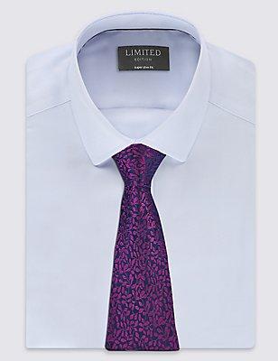 Pure Silk Textured Floral Tie, MAGENTA MIX, catlanding