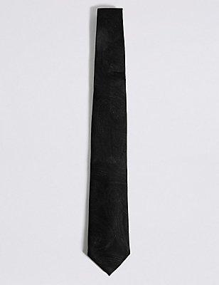 Pure Silk Paisley Tie, BLACK, catlanding