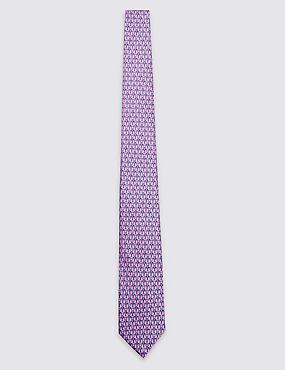Pure Silk Printed Tie, PINK MIX, catlanding