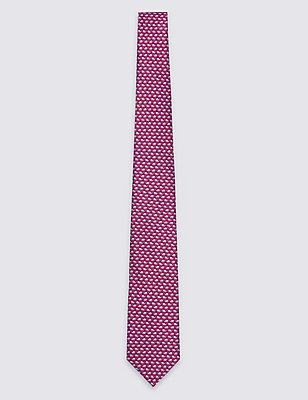 Pure Silk Printed Tie, RED, catlanding