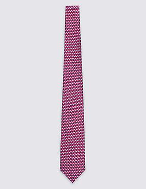 Bedruckte Krawatte aus reiner Seide, ROT, catlanding
