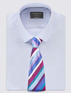 Pure Silk Striped Tie, MULTI/BRIGHTS, catlanding