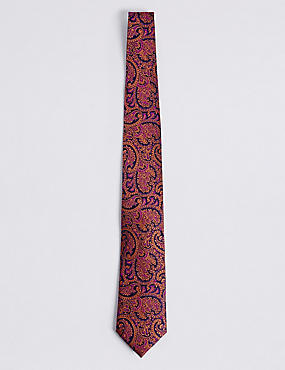Pure Silk Floral Tie, ORANGE MIX, catlanding