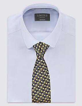 Pure Silk Cheeky Monkey Print Tie, GOLD MIX, catlanding
