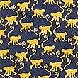 Pure Silk Cheeky Monkey Print Tie, GOLD MIX, swatch