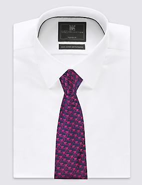 Pure Silk Cheeky Monkey Print Tie, MAGENTA MIX, catlanding