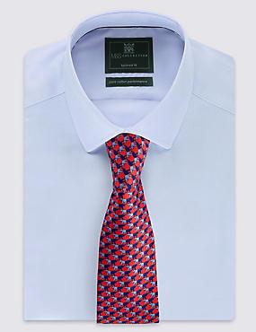 Krawatte aus reiner Seide mit Elefanten-Motiv, ROT MELANGE, catlanding
