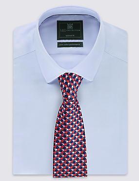 Krawatte aus reiner Seide mit Elefanten-Motiv, BLAU MELANGE, catlanding