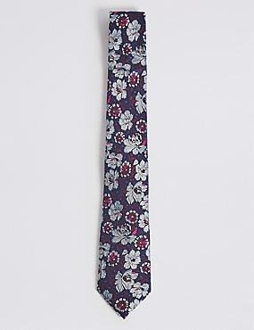 Pure Silk Floral Print Tie, MAGENTA MIX, catlanding