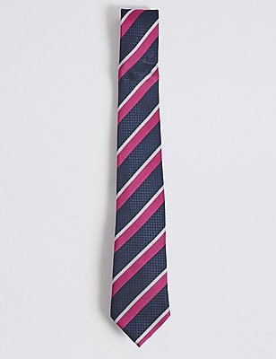 Pure Silk Striped Tie, MAGENTA MIX, catlanding