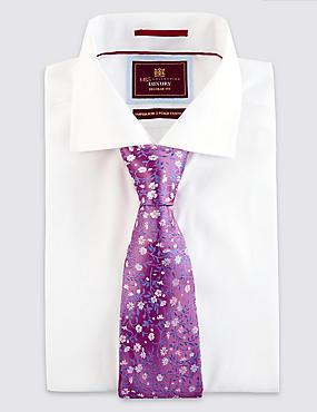 Pure Silk Floral & Leaf Print Tie, PINK MIX, catlanding