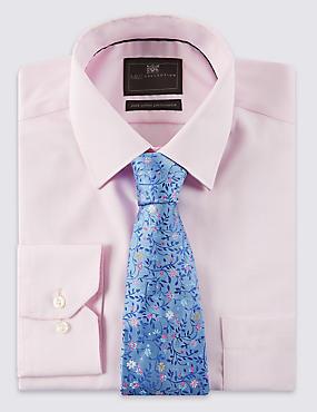 Pure Silk Floral & Leaf Print Tie, BLUE MIX, catlanding
