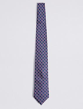 Cravate 100% soie à imprimé fleuri, BLEU, catlanding