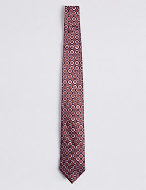 Pure Silk Floral Print Tie, ORANGE, catlanding