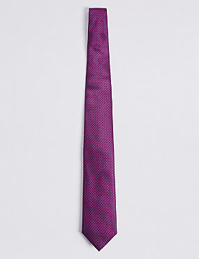 Pure Silk Micro Spotted Tie, DARK MAGENTA, catlanding