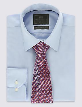 Pure Silk Zigzag Print Tie, RED MIX, catlanding