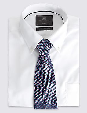 Pure Silk Zigzag Print Tie, MULTI, catlanding
