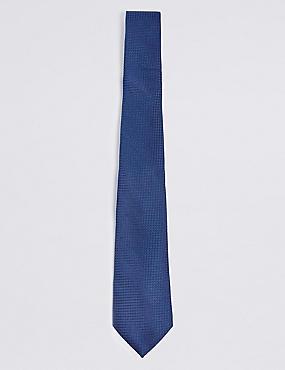 Pure Silk Textured Tie, BLUE, catlanding
