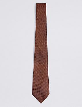 Pure Silk Textured Tie, RUST, catlanding