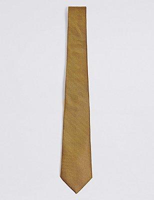 Pure Silk Textured Tie, GOLD, catlanding