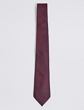 Pure Silk Textured Tie, BURGUNDY, catlanding