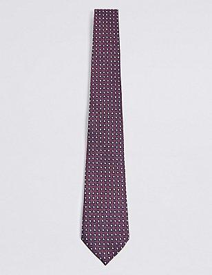 Pure Silk Geometric Print Tie, BURGUNDY MIX, catlanding