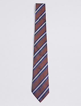 Pure Silk Striped Tie, RUST MIX, catlanding