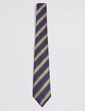 Pure Silk Striped Tie, GOLD MIX, catlanding