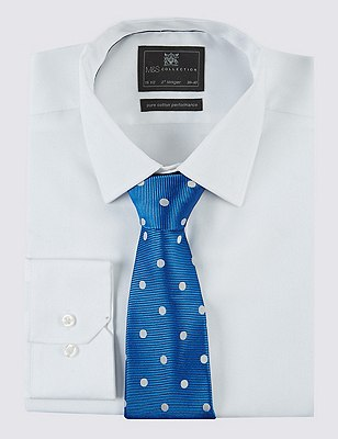 Pure Silk Twill Spotted Tie, BLUE MIX, catlanding
