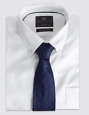 Pure Silk Floral Tie, NAVY, catlanding